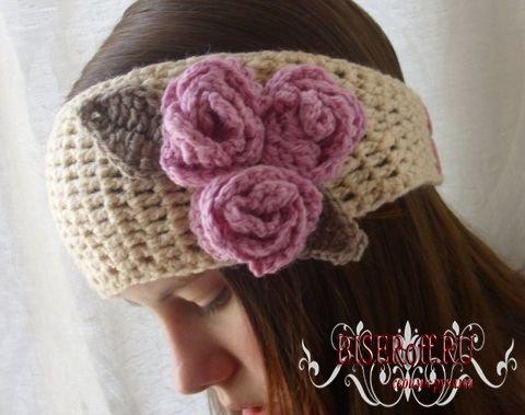 Красивая вязаная повязка на голову