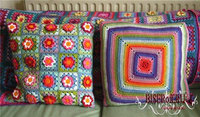 Вязание спицами подушек.